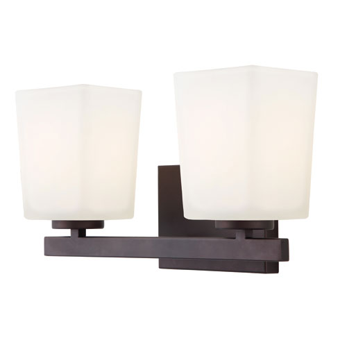 Canarm Hartley Oil Rubbed Bronze Two Light Vanity Light with Flat Opal Glass