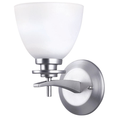 New Yorker Brushed Pewter One Light Wall Sconce with Flat White Opal Glass