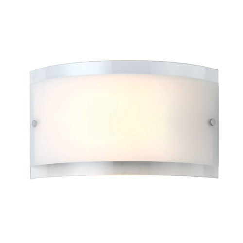 Canarm Logan Chrome One Light Wall Sconce with White Flat Opal and Clear Rim Glass