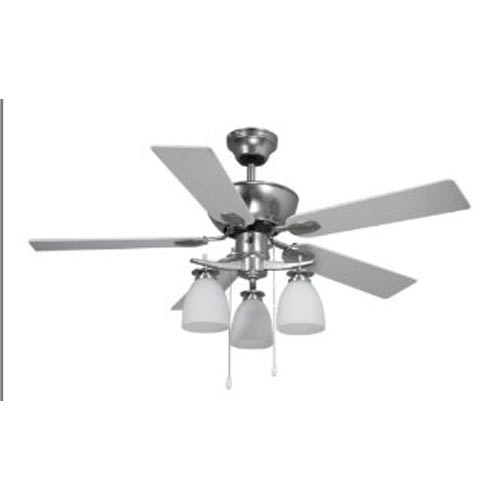 Canarm New Yorker Brushed Pewter Three-Light 42-Inch Ceiling Fan with Flat White Opal Glass