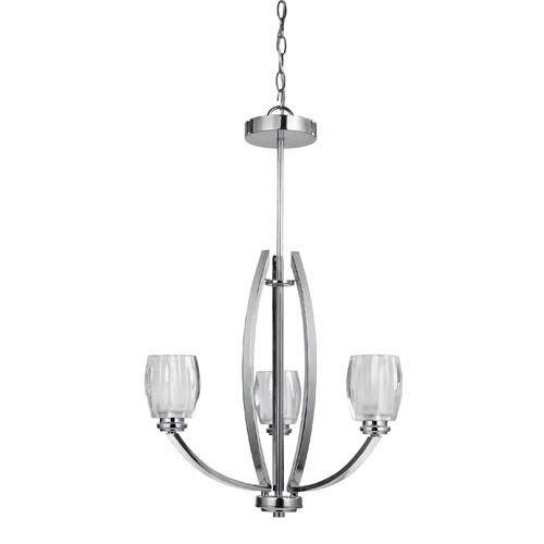 Canarm Andie Chrome Three-Light Chandelier with Clear Opal Glass