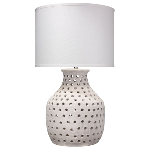 Porous Matte White 18-Inch Table Lamp