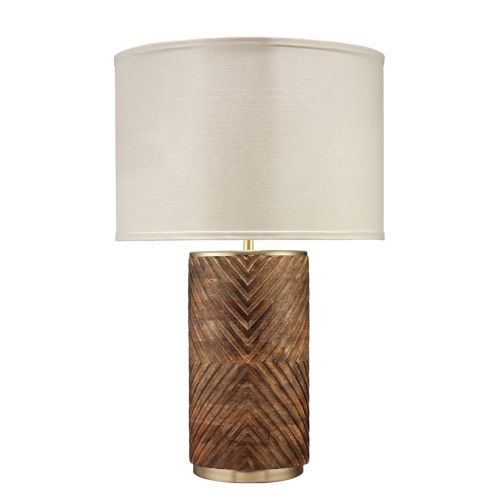 Refinery Hand Carved Wood with Matte Brass Metal One-Light Table Lamp