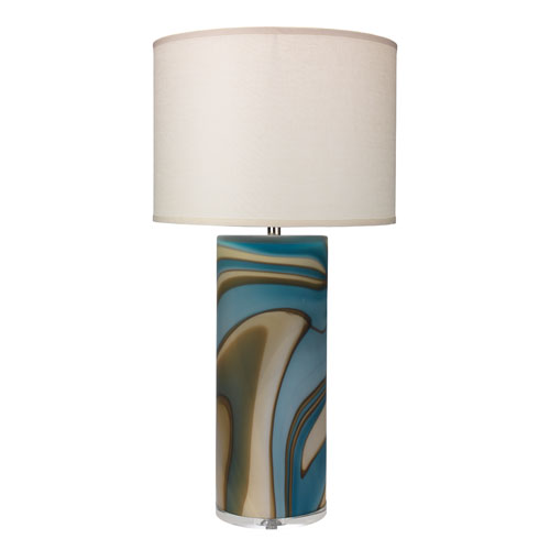 Large Matte Grey Swirl Glass 18-Inch Table Lamp