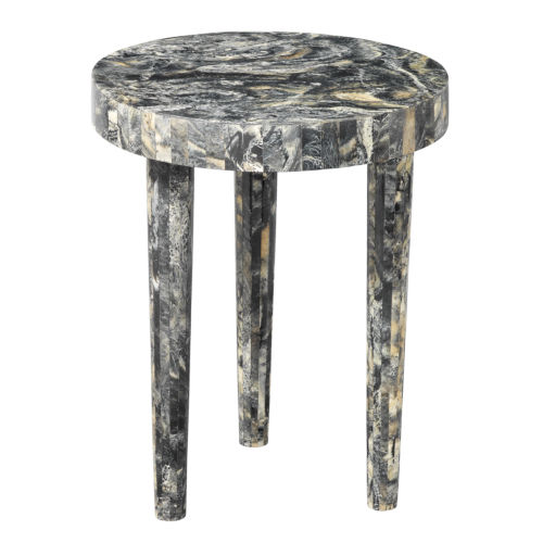 Artemis Black Resin 16-Inch Mango Wood and Resin Side Table