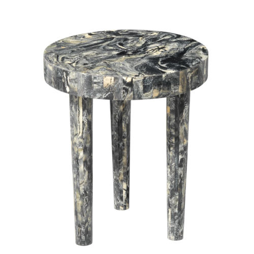 Artemis Black Resin 14-Inch Mango Wood and Resin Side Table