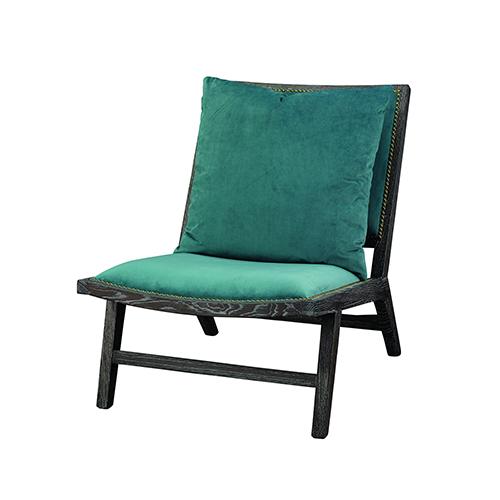 Baldwin Lake Blue Velvet and Dark Wood Chair