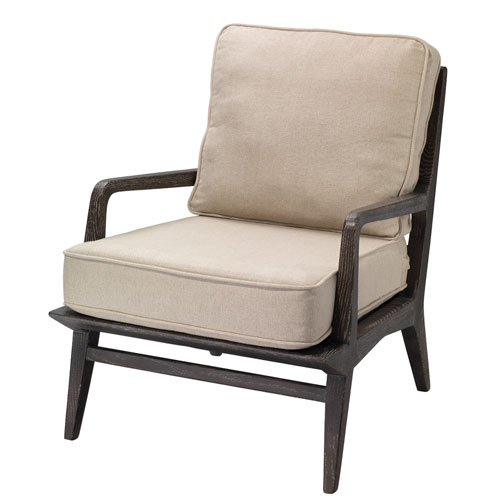 Carlo Dark American Oak Wood and Off White Linen Lounge Chair