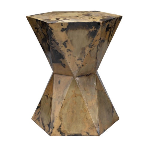 Crown Acid Washed 16-Inch Iron Sheet Side Table