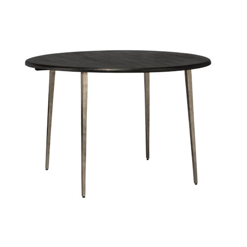 Farmhouse Dark Wood with Antique Silver Legs Bistro Table