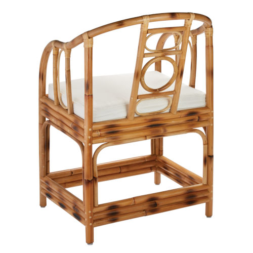 Malacca Burnt Tortoiseshell Rattan with Off White Cushion Arm Chair