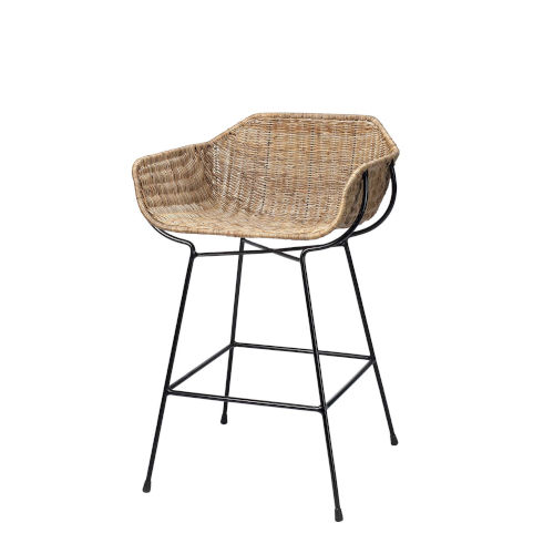 Nusa Natural Rattan and Black Steel Counter Stool