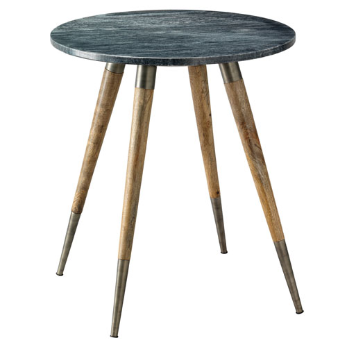 Jamie Young Company Owen Grey Marble with Natural Wood and Silver Metal 23-Inch Side Table