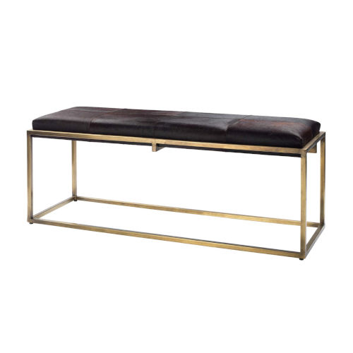 Shelby Espresso Hide with Antique Brass Bench
