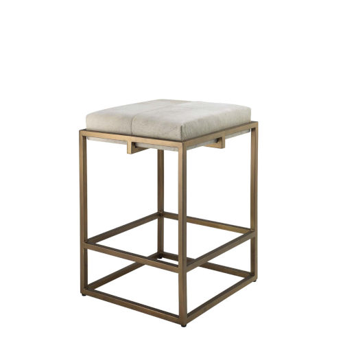 Shelby White Hide with Antique Brass Counter Stool