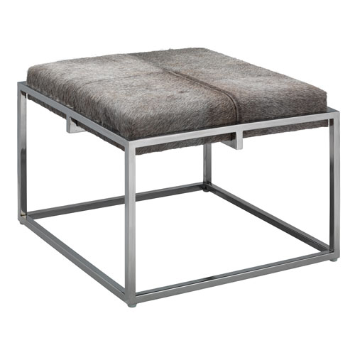 Shelby Grey Hide and Nickel Stool