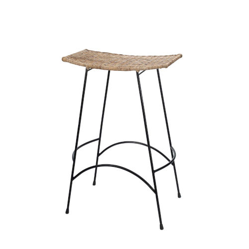 Wing Natural Rattan and Black Steel Bar Stool