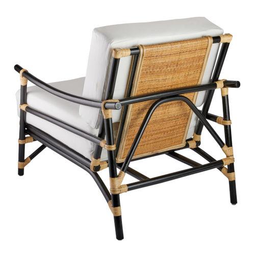 Xanadu Black and Cream Rattan with Off White Cushion Lounge Chair