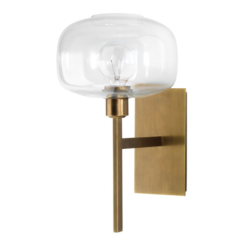 Scando Antique Brass and Clear Glass Nine-Inch Sconce