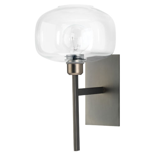 Scando Gun Metal and Clear Glass Nine-Inch Sconce