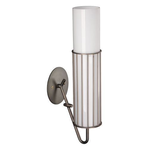 Torino Gun Metal and Opaque White Milk Glass Three-Inch Sconce