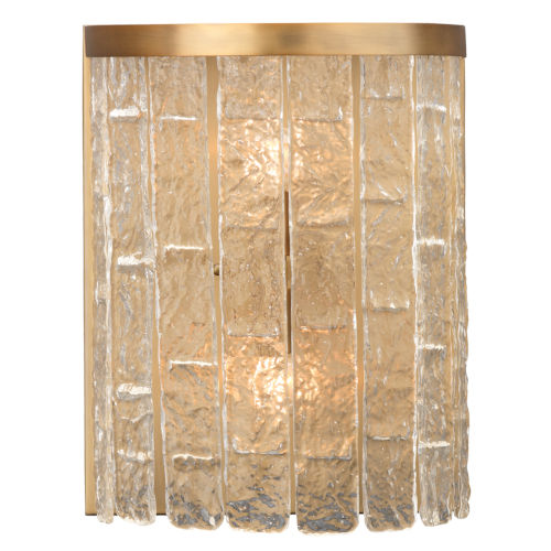 Waterfall Clear Glass with Antique Brass Two-Light Wall Sconce