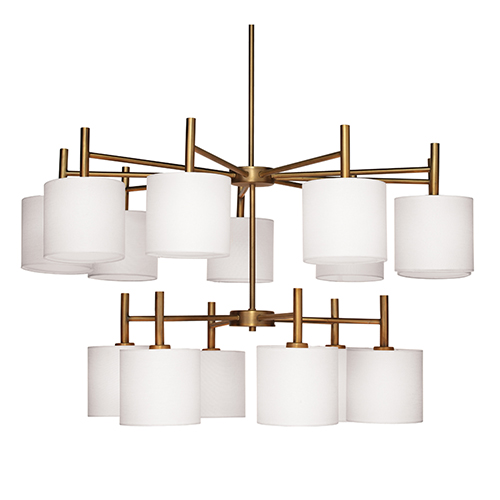 Ellis Antique Brass And White Linen Shades 15-Light Chandelier