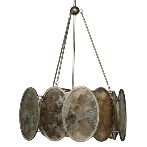 Galaxy Champagne Leaf   Antiqued Mirrored Glass Six-Light Chandelier