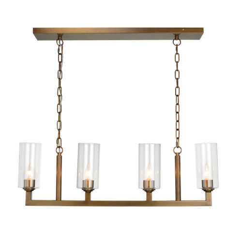 Antique Brass with Clear Glass Four-Light Chandelier
