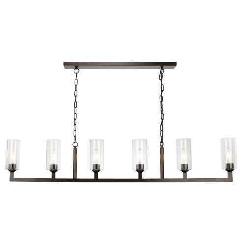 Oil Rubbed Bronze with Clear Glass Six-Light Chandelier