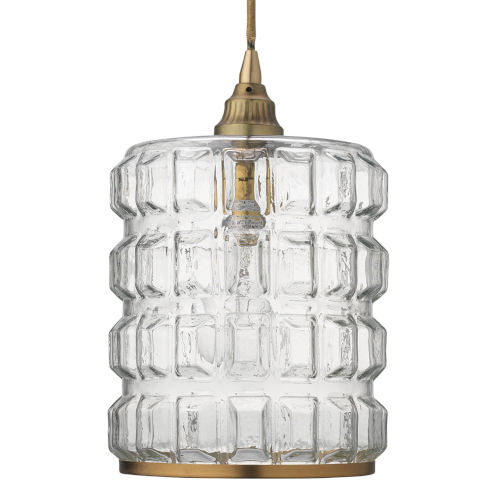 Madison Clear Glass with Antique Brass Hardware One-Light Mini Pendant