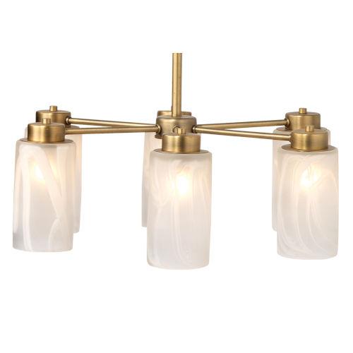 Streamer Antique Brass with Streamer Glass Six-Light Chandelier