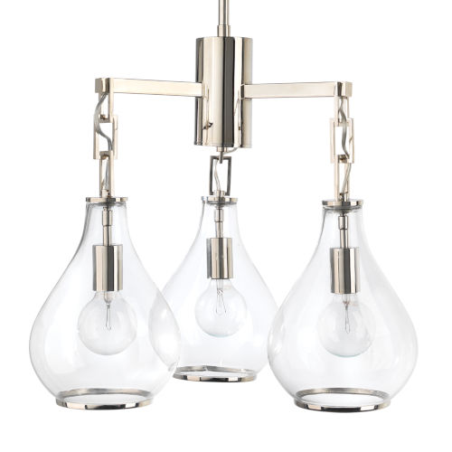 Tear Clear Glass and Nickel Three-Light Chandelier