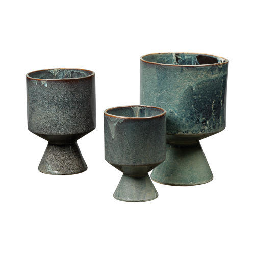 Berkeley Royal Blue Ceramic Ceramic Pot, Set of Three
