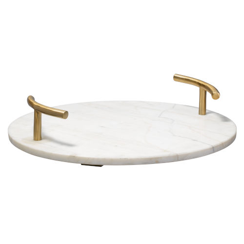 Carter White Marble and Antique Brass Tray