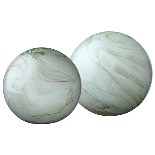 Cosmos Sage Swirl Glass Ball, Set Of 2
