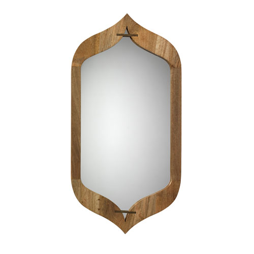 Jasmine Natural Wood and Antique Brass Mirror