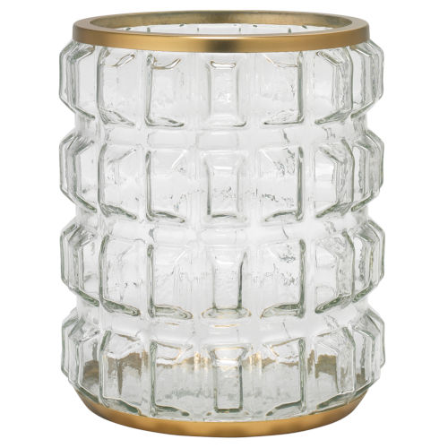 Madison Clear Glass and Antique Brass Metal and Glass Hurricane