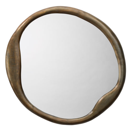Organic Antique Brass Round Mirror