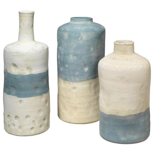 Sedona Blue and White Ceramic Ceramic Vessel, Set of Three