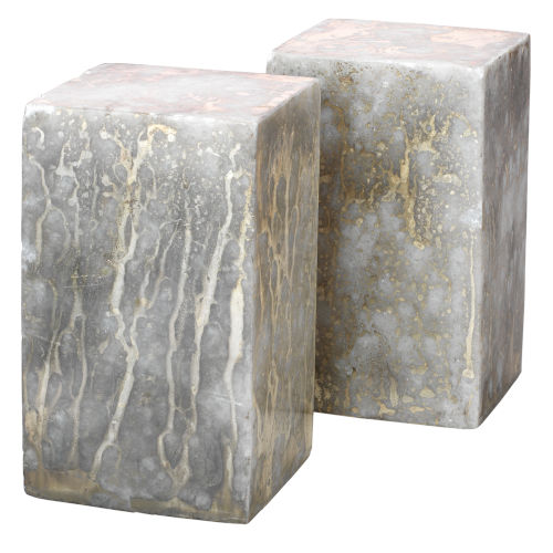 Slab Silver and Gold Marble Bookend, Set of Two