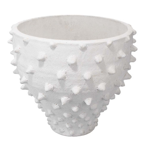 Spike Textured Matte White Ceramic Vase