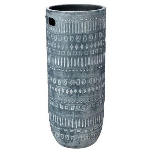 Zion Gray and White Ceramic 24-Inch Ceramic Vase