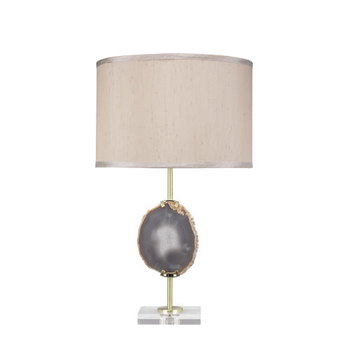 Agate Natural Lavender Agate with Antique Brass One-Light Table Lamp