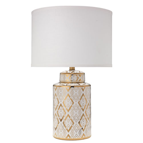 Astrid Gold and White 15-Inch Table Lamp