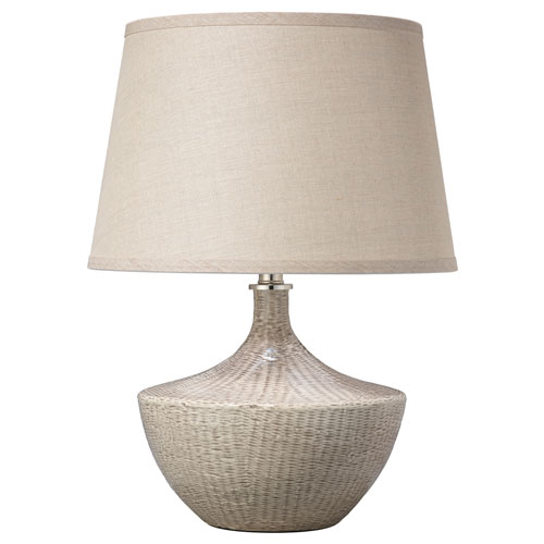 Basketweave Off White Ceramic One-Light Table Lamp