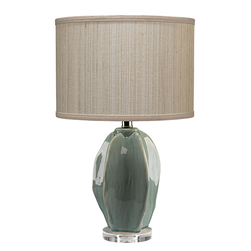 Hermosa Cream Ceramic Table Lamp with Drum Shade in Elephant Hemp