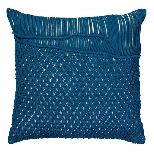 Saguaro Navy Macrame  Pillow