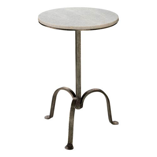 gun metal left bank marble table - Colored End Tables