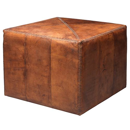 Tobacco Leather Large Ottoman